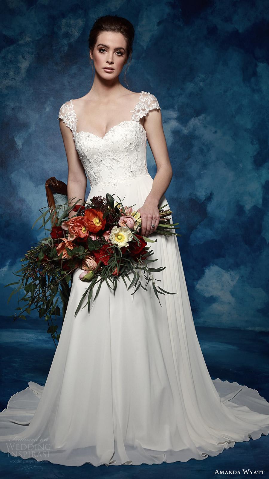amanda wyatt bridal 2017 illusion cap sleeves sweetheart a line wedding dress (violette) mv train romantic elegant