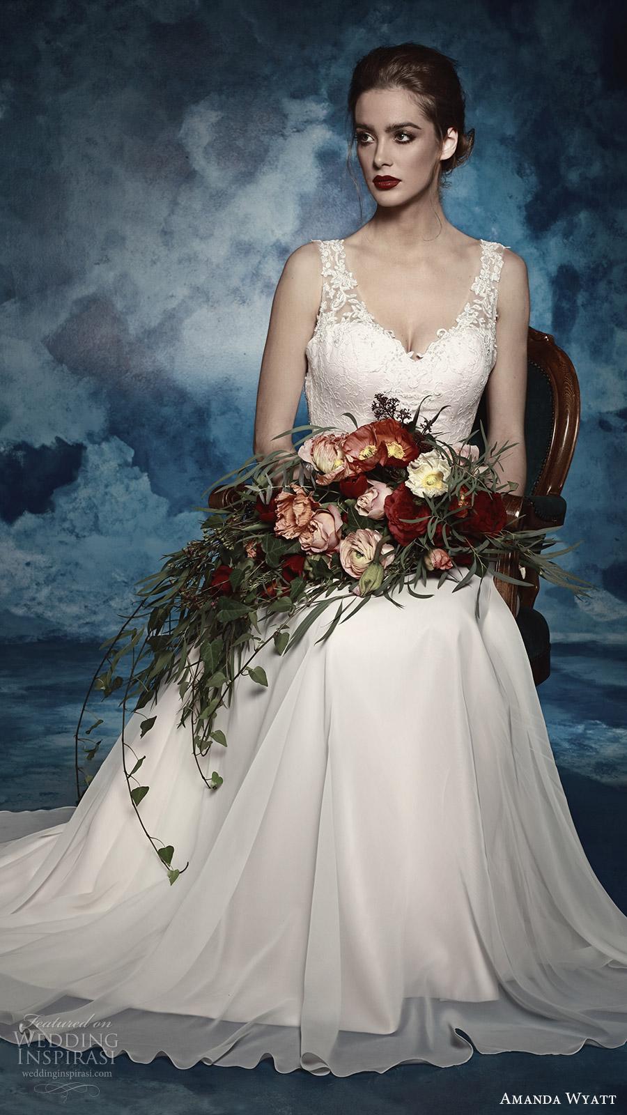 amanda wyatt bridal 2017 sleeveless thick straps lace a line wedding dress (lettie) mv romantic elegant