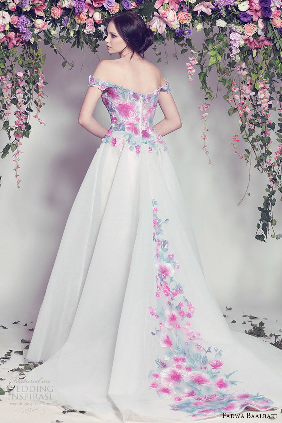 fadwa baalbaki spring 2016 couture off shoulder ball gown multi color floral bv train romantic