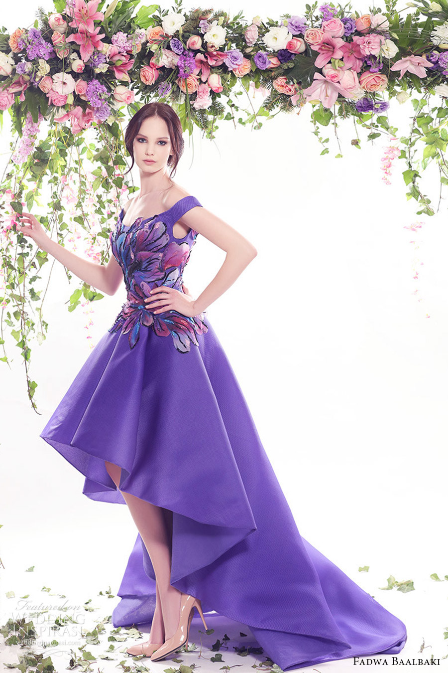 fadwa baalbaki spring 2016 couture off shoulder high low purple color floral evening cocktail dress mv