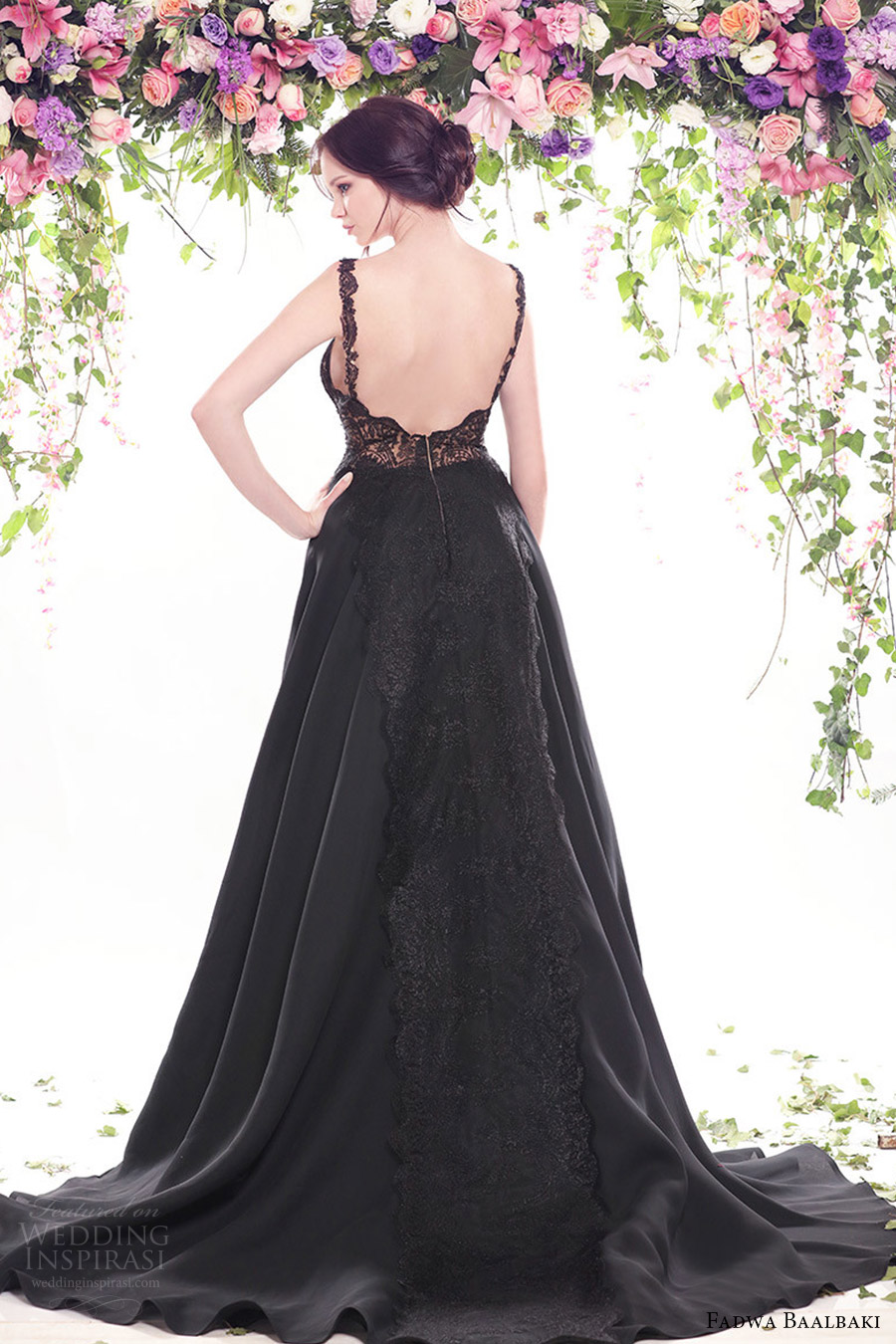 fadwa baalbaki spring 2016 couture strapless sweetheart black ball gown multi color bodice bv low back train