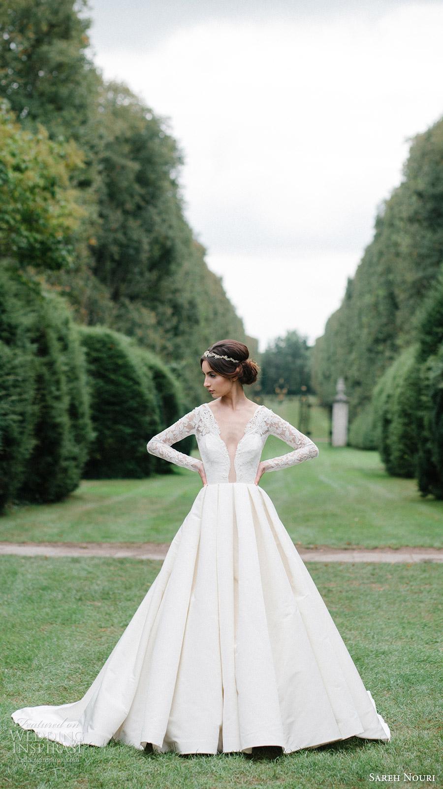 sareh nouri bridal fall 2016 long sleeve deep vneck aline ball gown wedding dress (laylee) fv romantic elegant