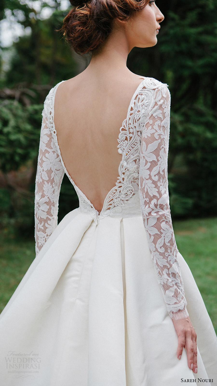 sareh nouri bridal fall 2016 long sleeve deep vneck aline ball gown wedding dress (laylee) zbv  plunging back train romantic elegant