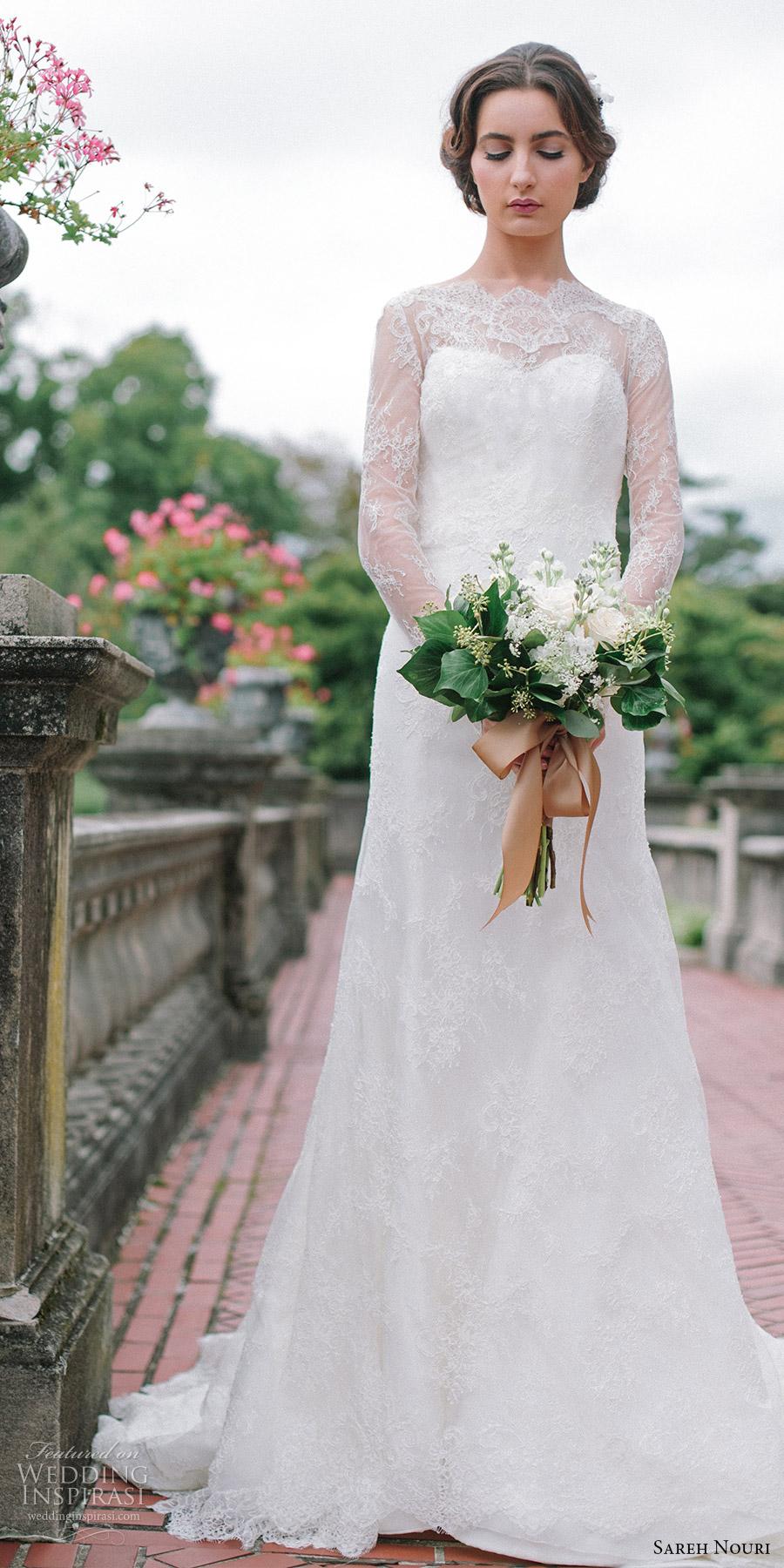 sareh nouri bridal fall 2016 long sleeves sweetheart illusion jewel neck lace wedding dress (miriam) fv elegant romantic