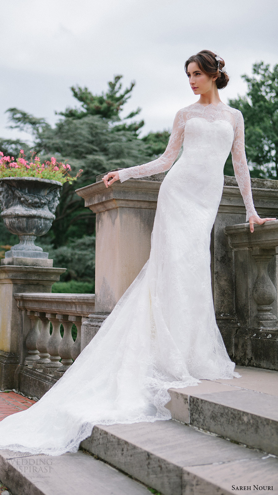 sareh nouri bridal fall 2016 long sleeves sweetheart illusion jewel neck lace wedding dress (miriam) mv elegant romantic