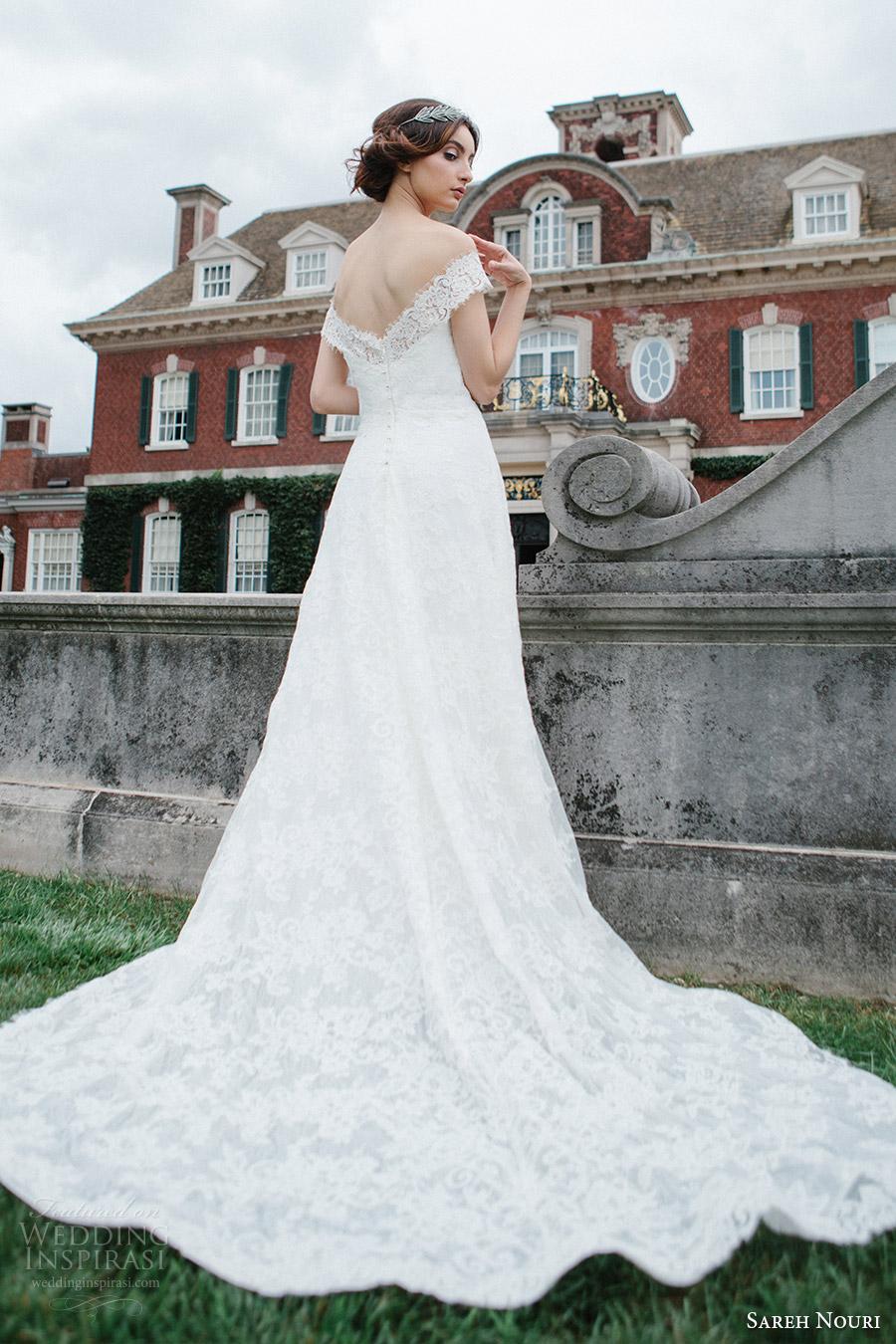 sareh nouri bridal fall 2016 short sleeves off shoulder a line lace wedding dress (aryanna) bv vback train romantic elegant