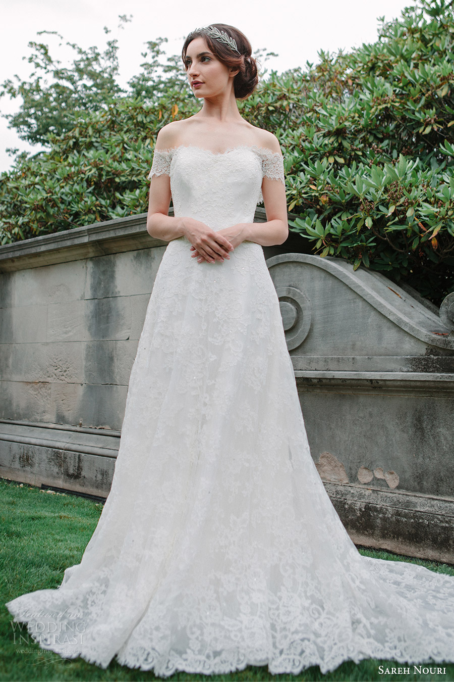 sareh nouri bridal fall 2016 short sleeves off shoulder a line lace wedding dress (aryanna) mv romantic elegant