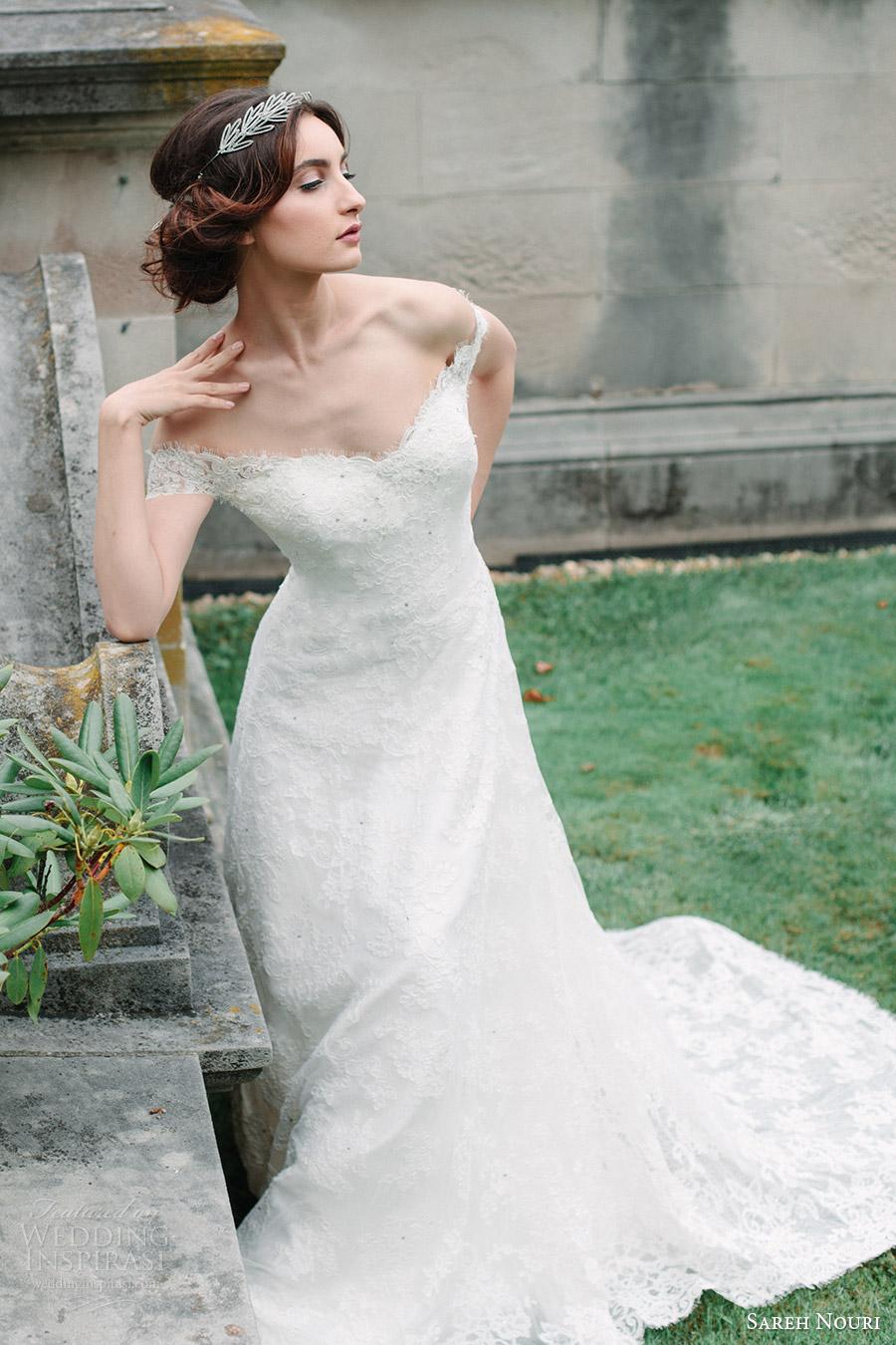 sareh nouri bridal fall 2016 short sleeves off shoulder a line lace wedding dress (aryanna) zv romantic elegant