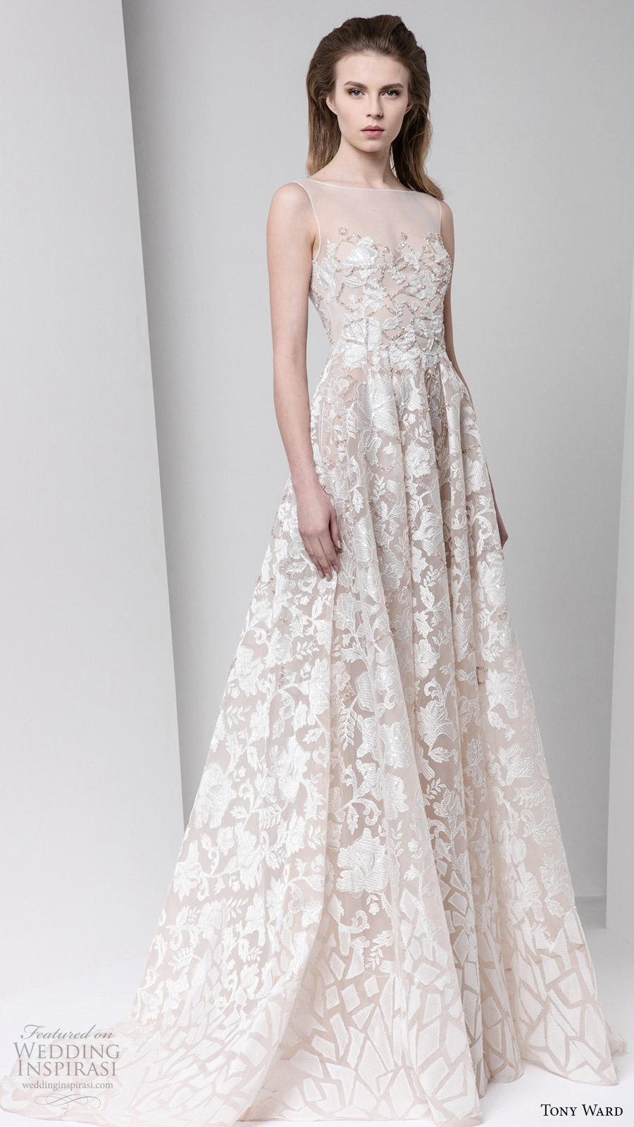 tony ward fall winter 2016 2017 rtw sleeveless illusion bateau neck a line off white evening dress bridal inspiration