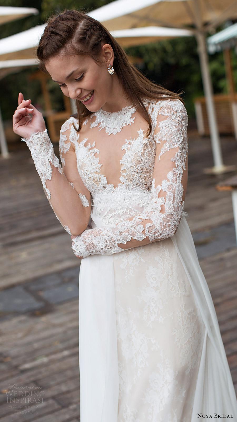 noya bridal 2016 3 long sleeves sweetheart illusion jewel neck trumpet sheath lace wedding dress (1208) zv overskirt train romantic