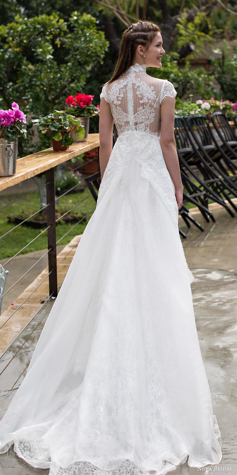 noya bridal 2016 cap sleeves illusion high neckline aline empire waist wedding dress (1203) bv sheer back romantic