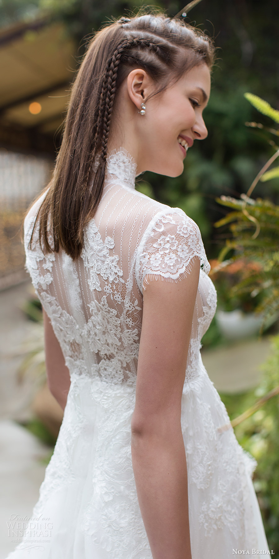 noya bridal 2016 cap sleeves illusion high neckline aline empire waist wedding dress (1203) zbv sheer back romantic