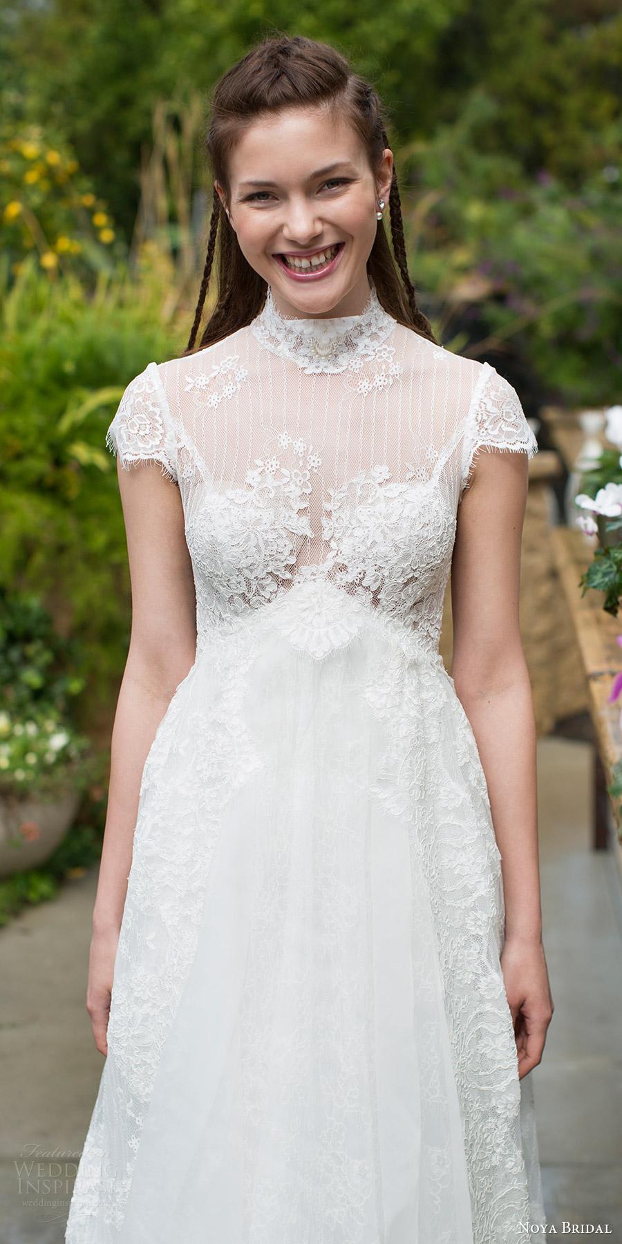 noya bridal 2016 cap sleeves illusion high neckline aline empire waist wedding dress (1203) zv romantic