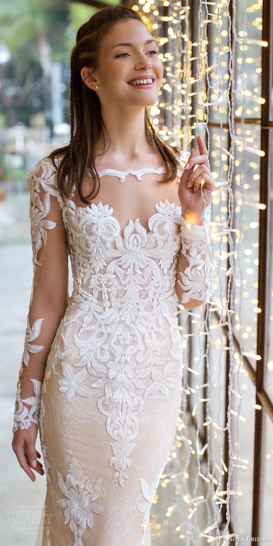 noya bridal 2016 illusion long sleeve scalloped sweetheart illusion jewel sheath wedding dress (1201) zv train elegant