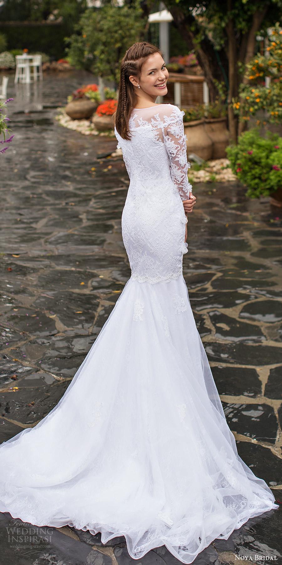 noya bridal 2016 long sleeves sweethart illusion bateau neck fit flare wedding dress (1204) bv elegant romantic