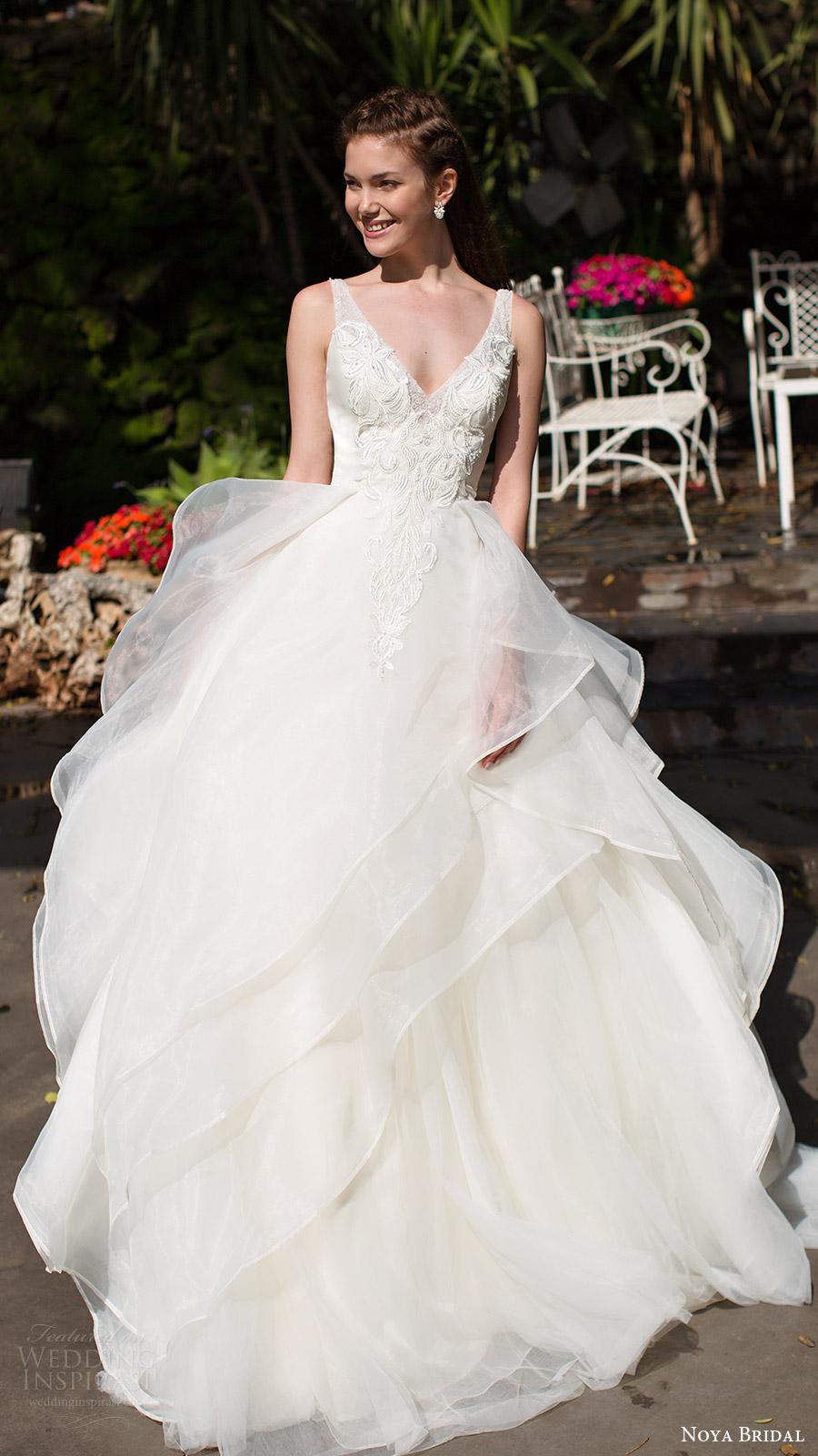 noya bridal 2016 sleeveless straps vneck aline ball gown wedding dress (1209) romantic princess mv