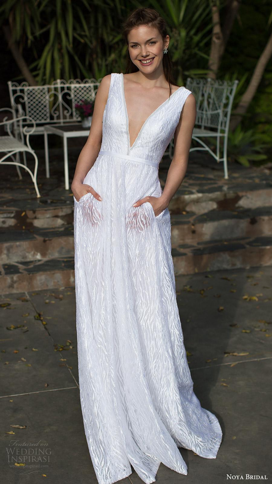 noya bridal 2016 sleeveless thick straps deep vneck aline wedding dress (1212) mv pockets