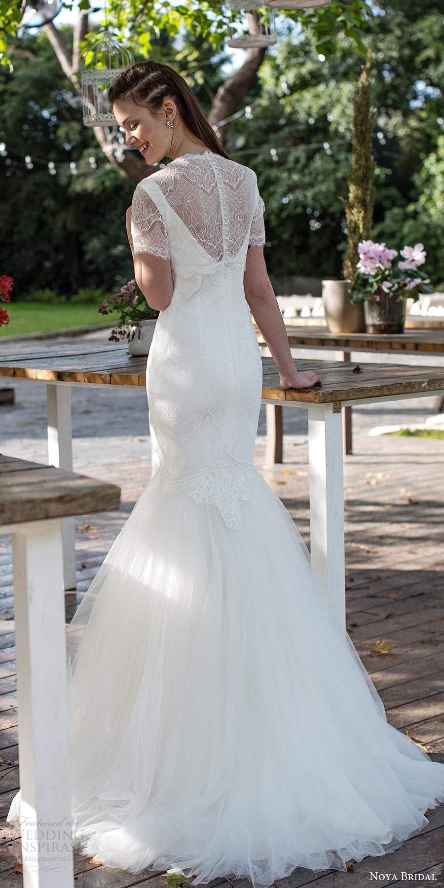 noya bridal 2016 sleeveless v neck illusion jewel lace mermaid fit flare wedding dress (1211) bv romantic shortsleeve top