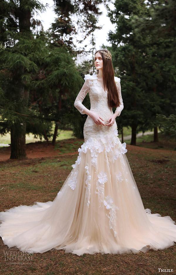e839761f1203d tiglily bridal 2016 long sleeves vneck fit flare mermaid wedding dress  (eva) mv peach