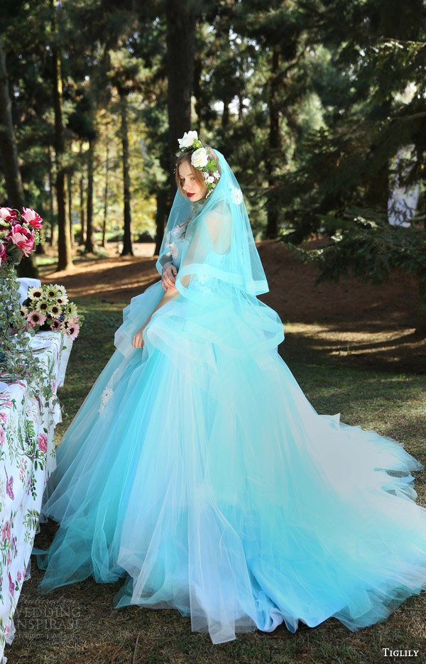 tiglily bridal 2016 strapless crumbcatcher ball gown wedding dress (summer) mv tiered skirt princess light blue color