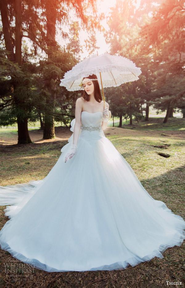 tiglily bridal 2016 strapless semi sweetheart aline wedding dress (lara) mv romantic train
