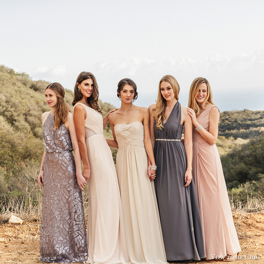 vow to be chic 2016 metallics silver gray blush neutral mix match bridesmaid dresses for rent