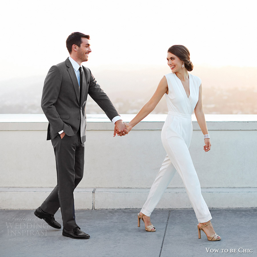 vow to be chic 2016 rental bridesmaid wedding dress nicole miller coco white jumpsuit
