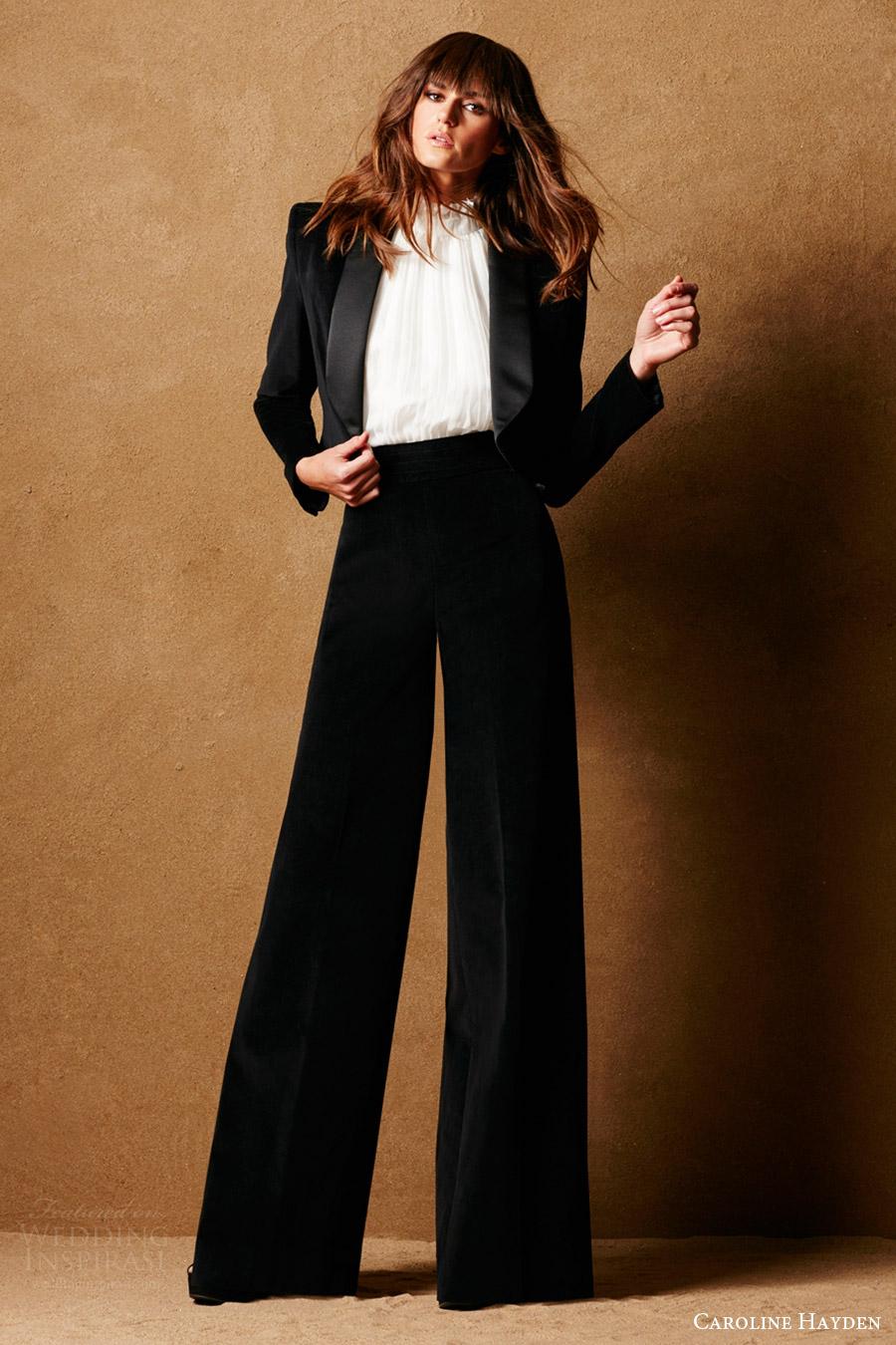caroline hayden bridal 2017 velvet pants tuxedo jacket ruffle neck top (ch009 ch010 ch 016 black) mv