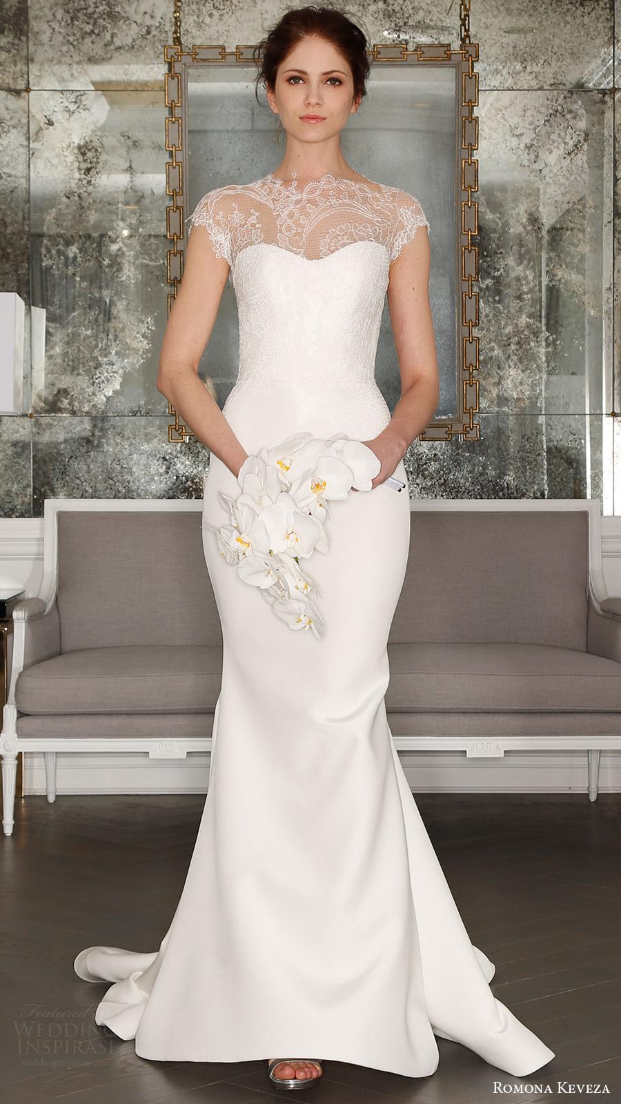 romona keveza bridal spring 2017 cap sleeves sweetheart illusion high neck sheath wedding dress (rk7404) mv