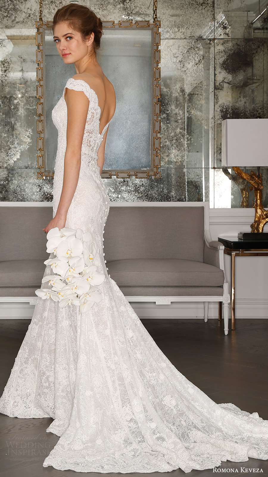 romona keveza bridal spring 2017 off shoulder vneck pearl beaded trumpet wedding dress (rk7406) bv low back train