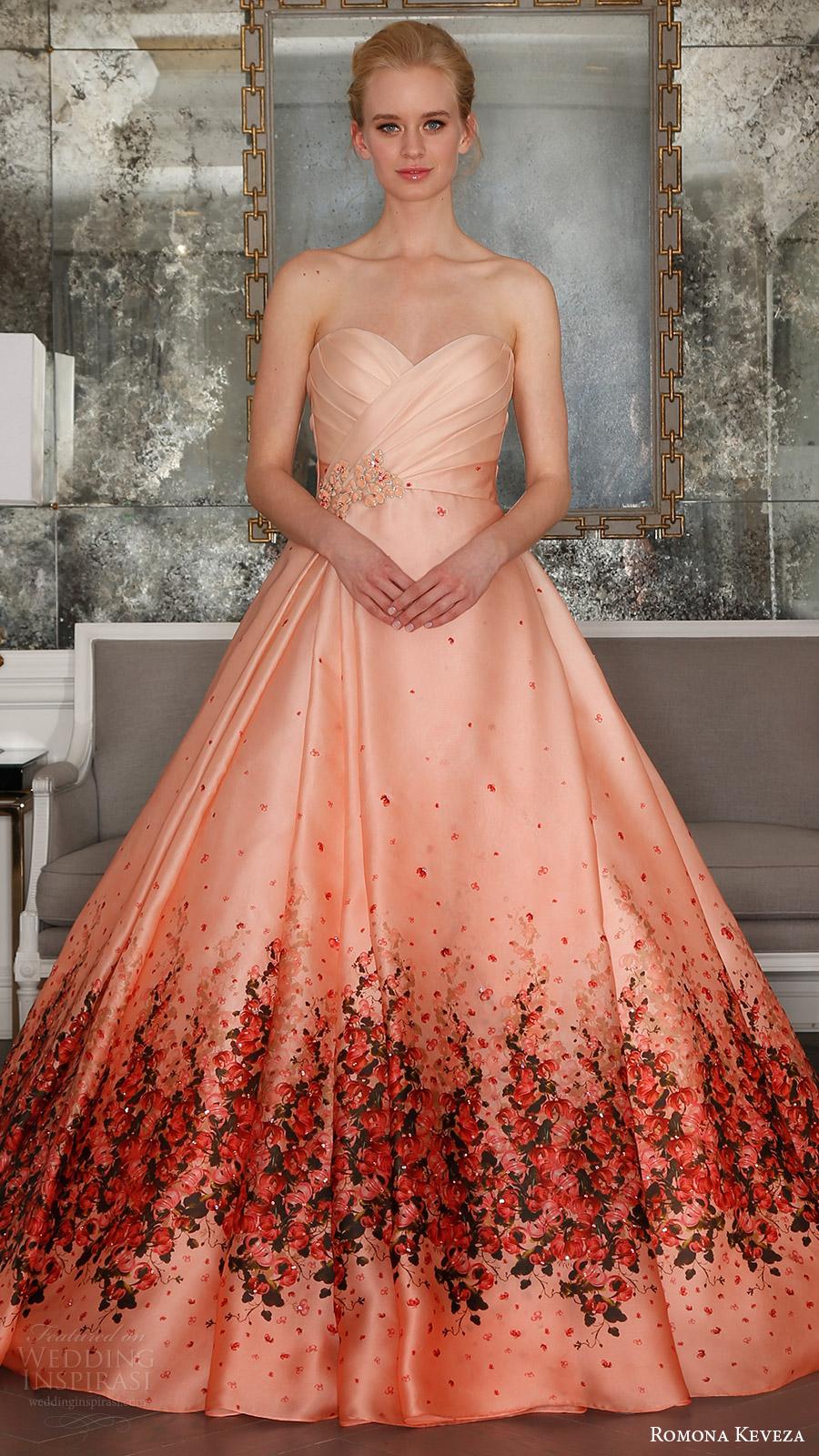 romona keveza bridal spring 2017 strapless surplice sweetheart organza ball gown wedding dress (rk7411) mv red bougainvillea print detachable cathedral train