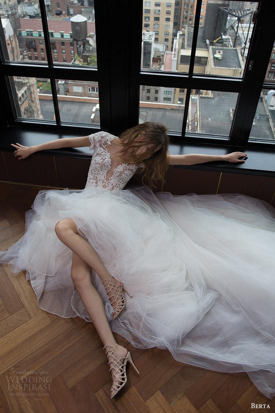 berta bridal fall 2016 cap sleeves deep sweetheart aline wedding dress (16 112) mv