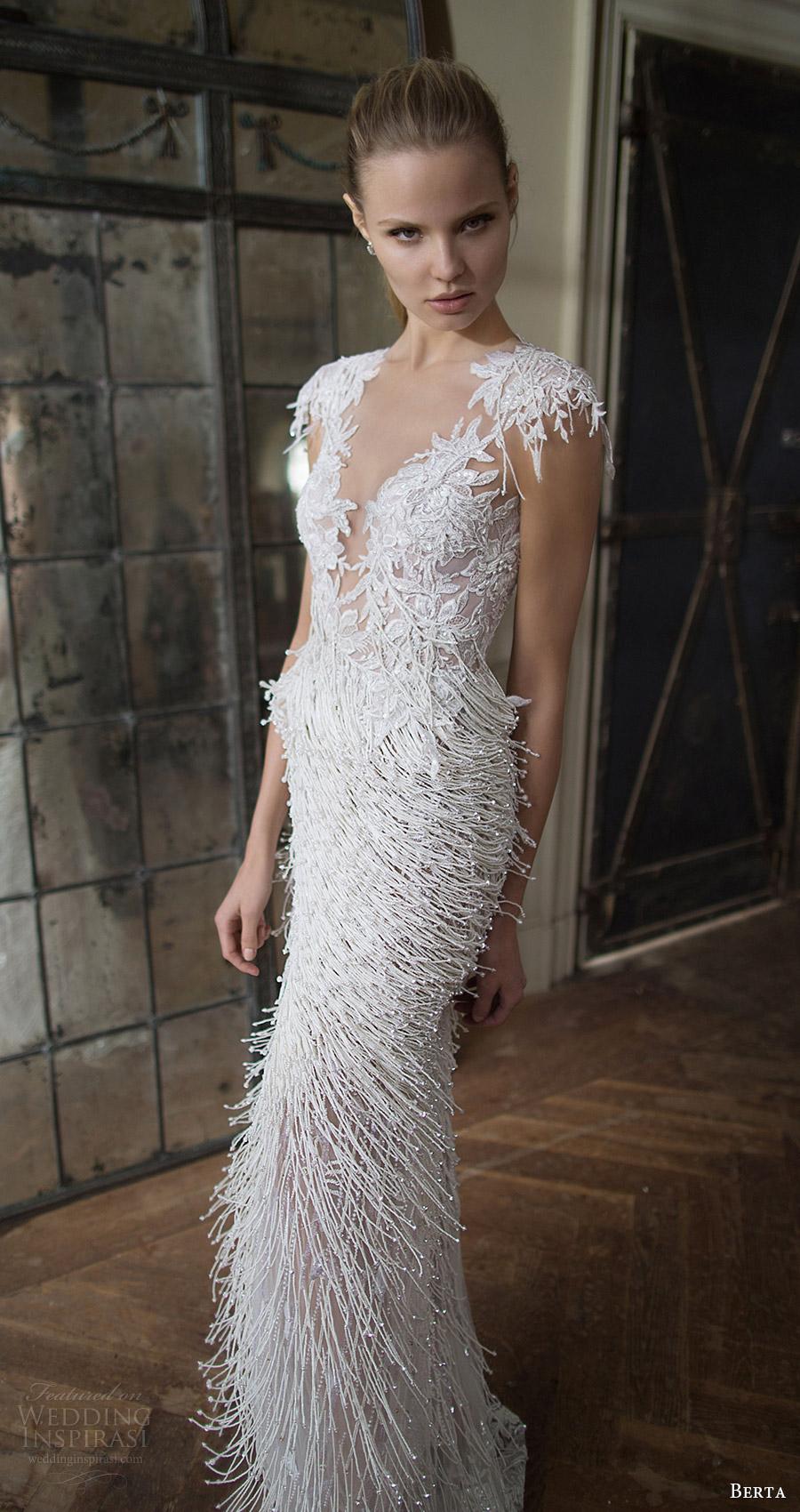 berta bridal fall 2016 cap sleeves deep vneck trumpet beaded fringe wedding dress (16 121) mv