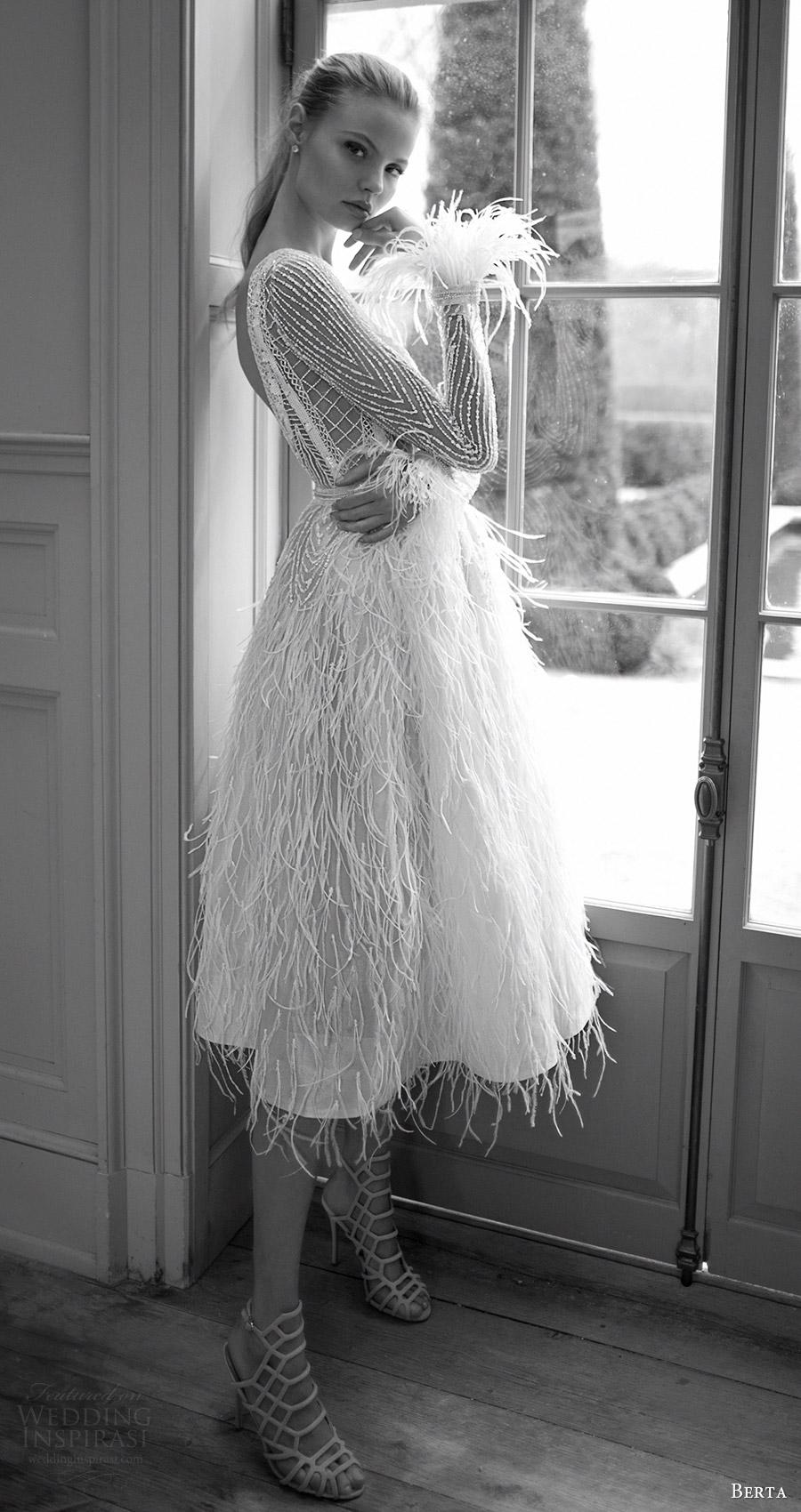 berta bridal fall 2016 long sleeves jewel neckline short wedding dress (16 120) mv feather skirt
