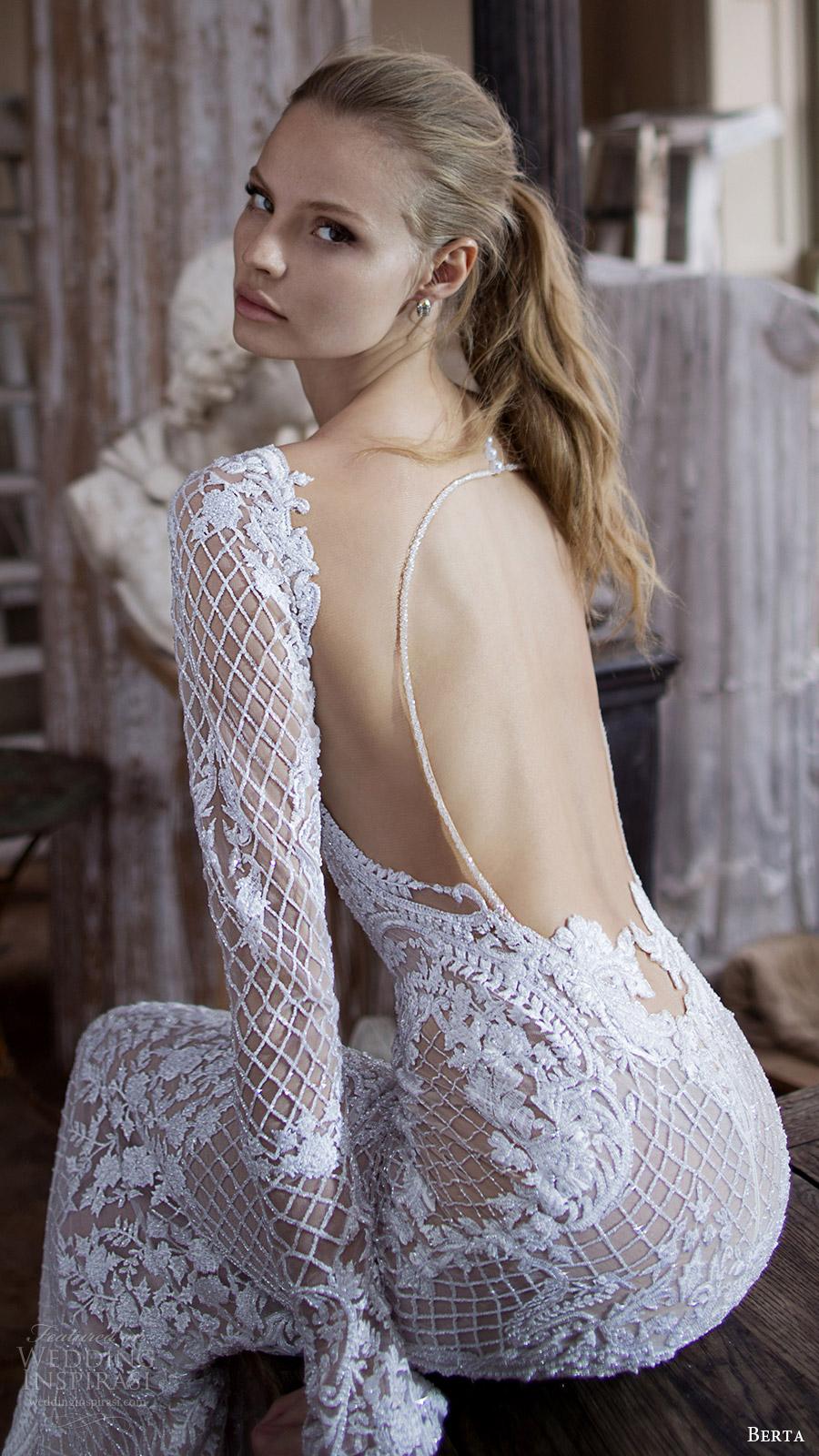 berta bridal fall 2016 long sleeves sweetheart beaded sheath wedding dress (16 123) bv keyhole