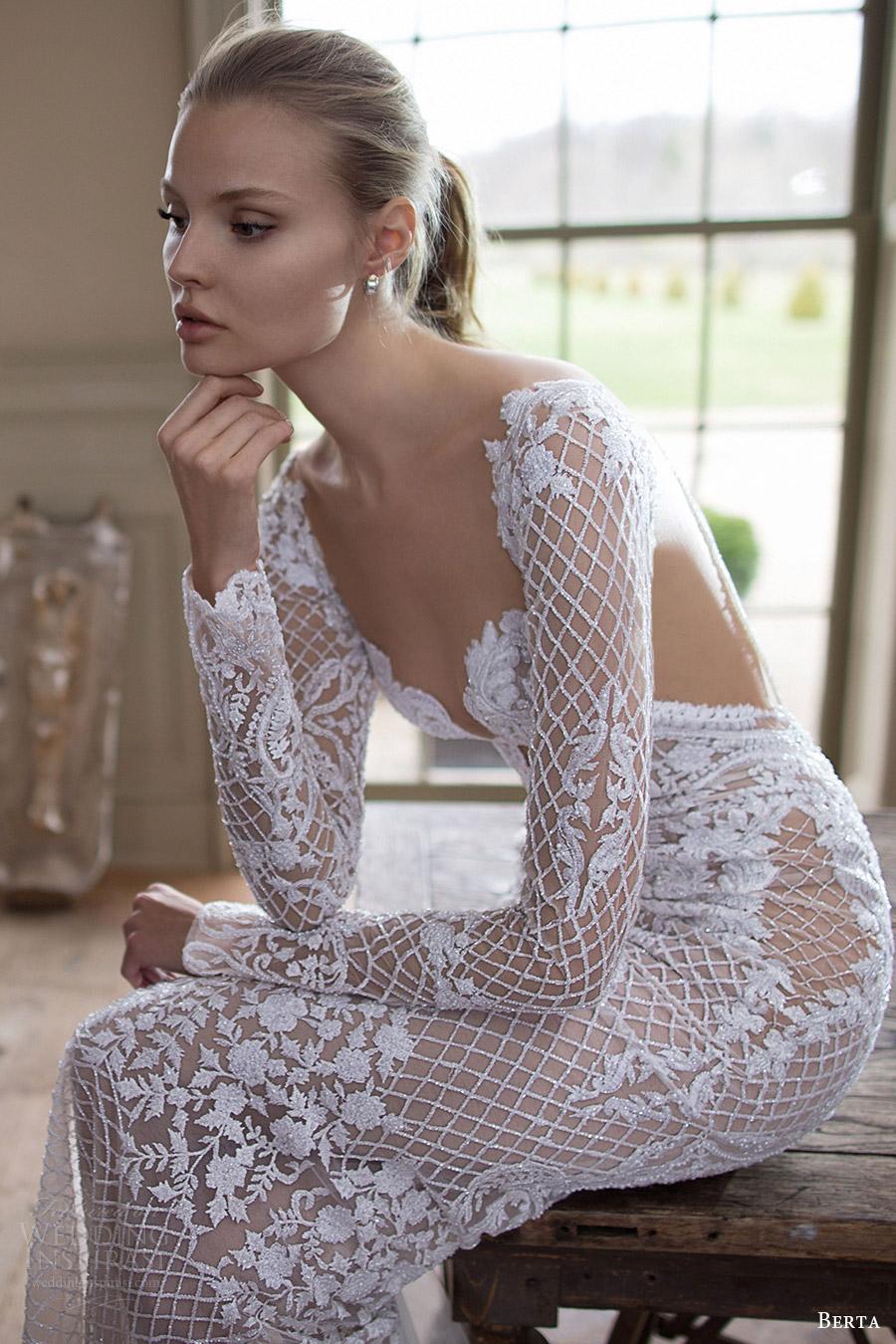 berta bridal fall 2016 long sleeves sweetheart beaded sheath wedding dress (16 123) sv