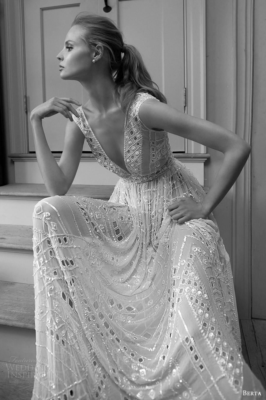berta bridal fall 2016 sleeveless deep vneck wedding dress (16 118) fzv