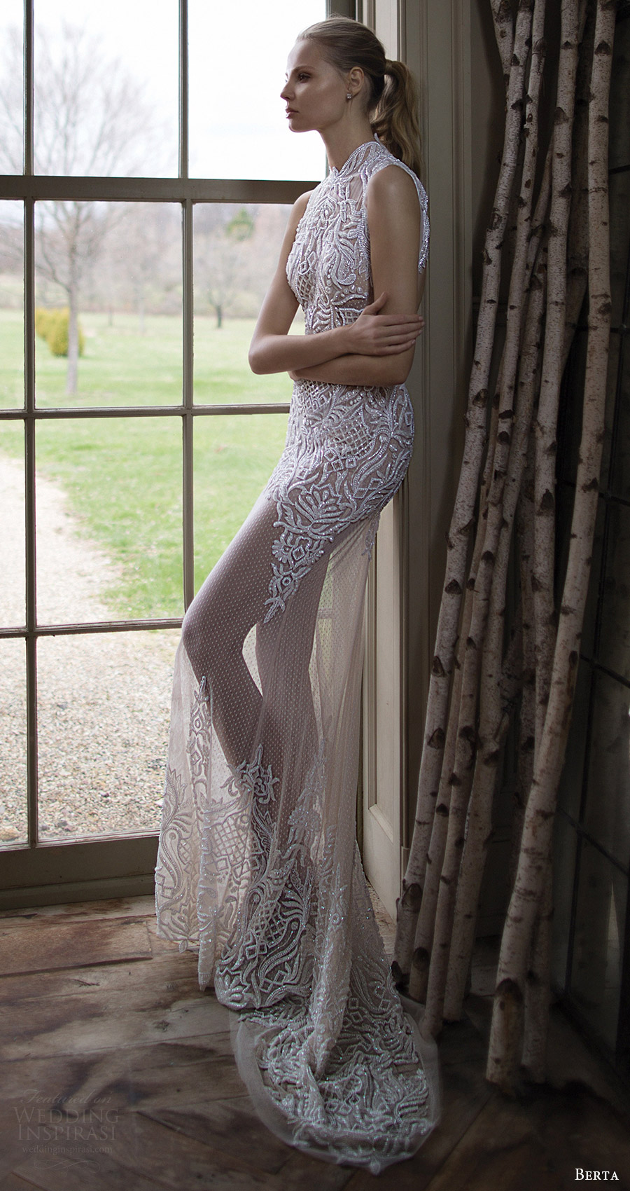 berta bridal fall 2016 sleeveless high neck trumpet wedding dress (16 116) sv long train