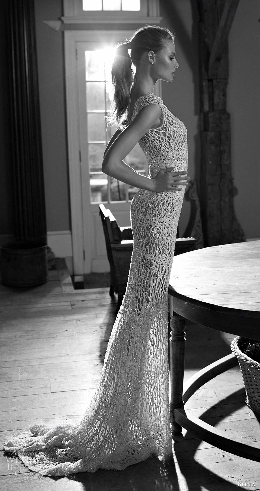 berta bridal fall 2016 sleeveless wedding dress (16 119) mv train