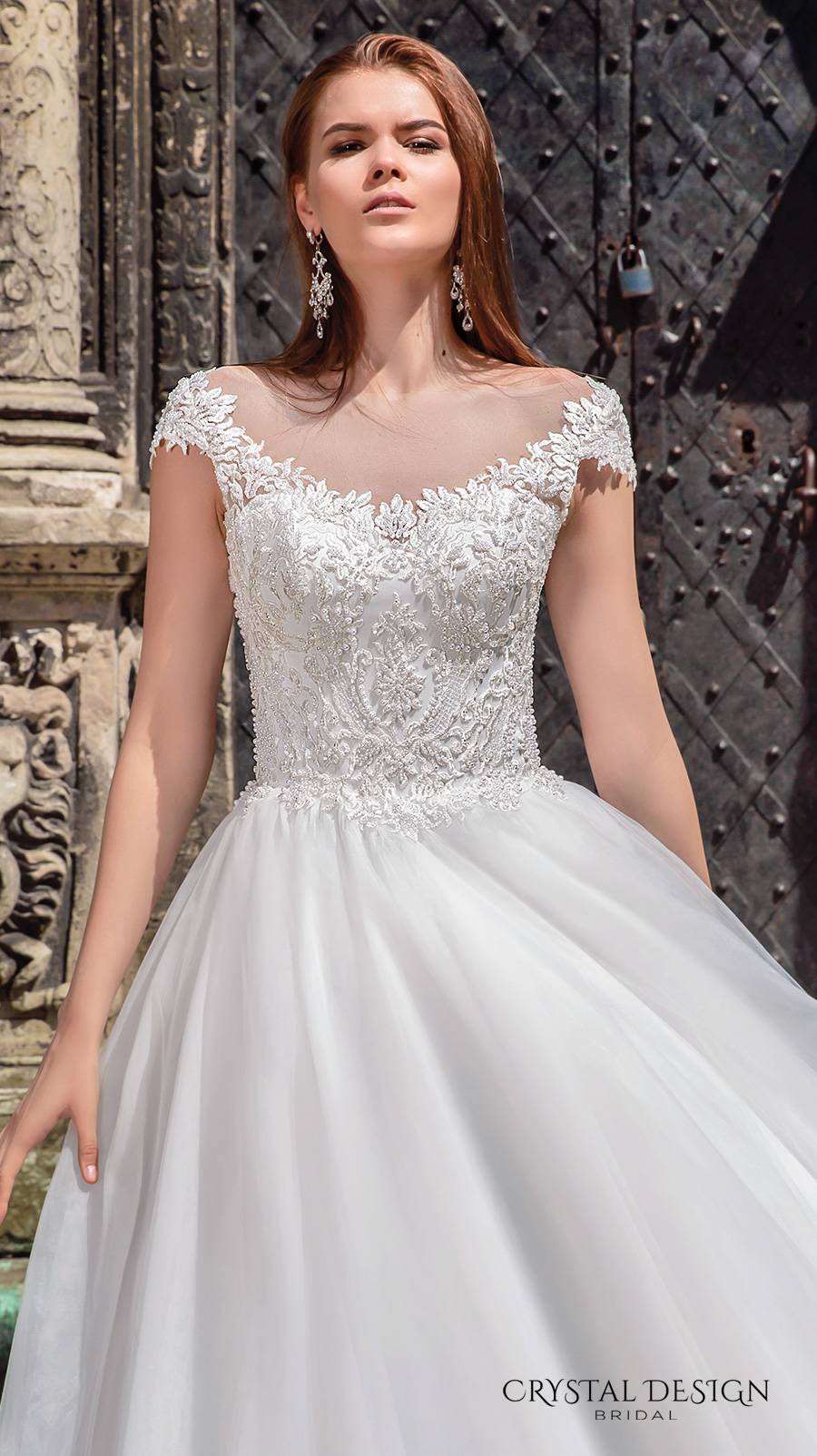 crystal design bridal 2016 cap sleeves scoop round neckline heavily embellished bodice a  line tulle ball gown wedding dress v back chapel train (maram) zv