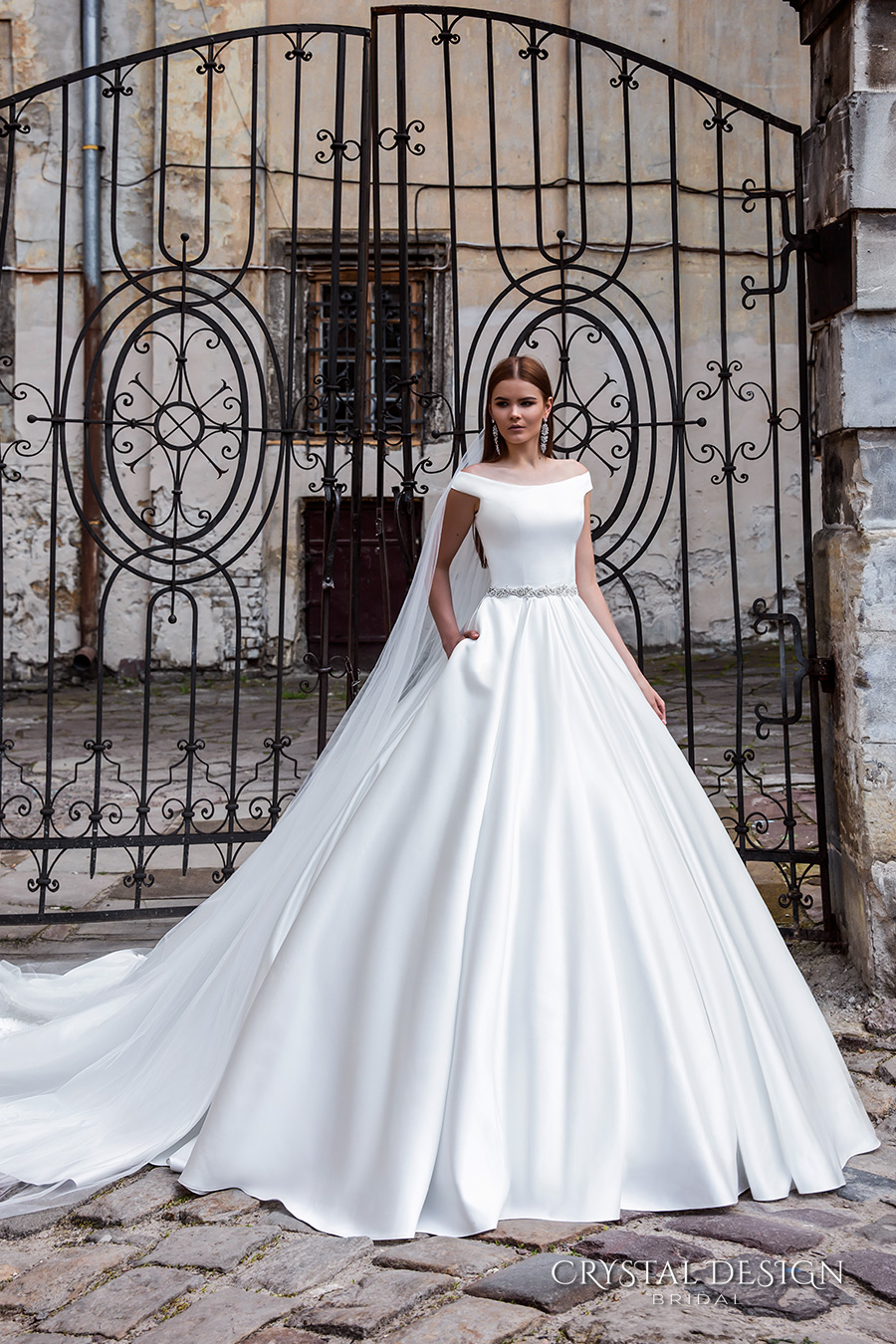 crystal design bridal 2016 off the shoulder jeweled belt chic modern simple a  line ball gown wedding dress with pockets royal train (shina) mv