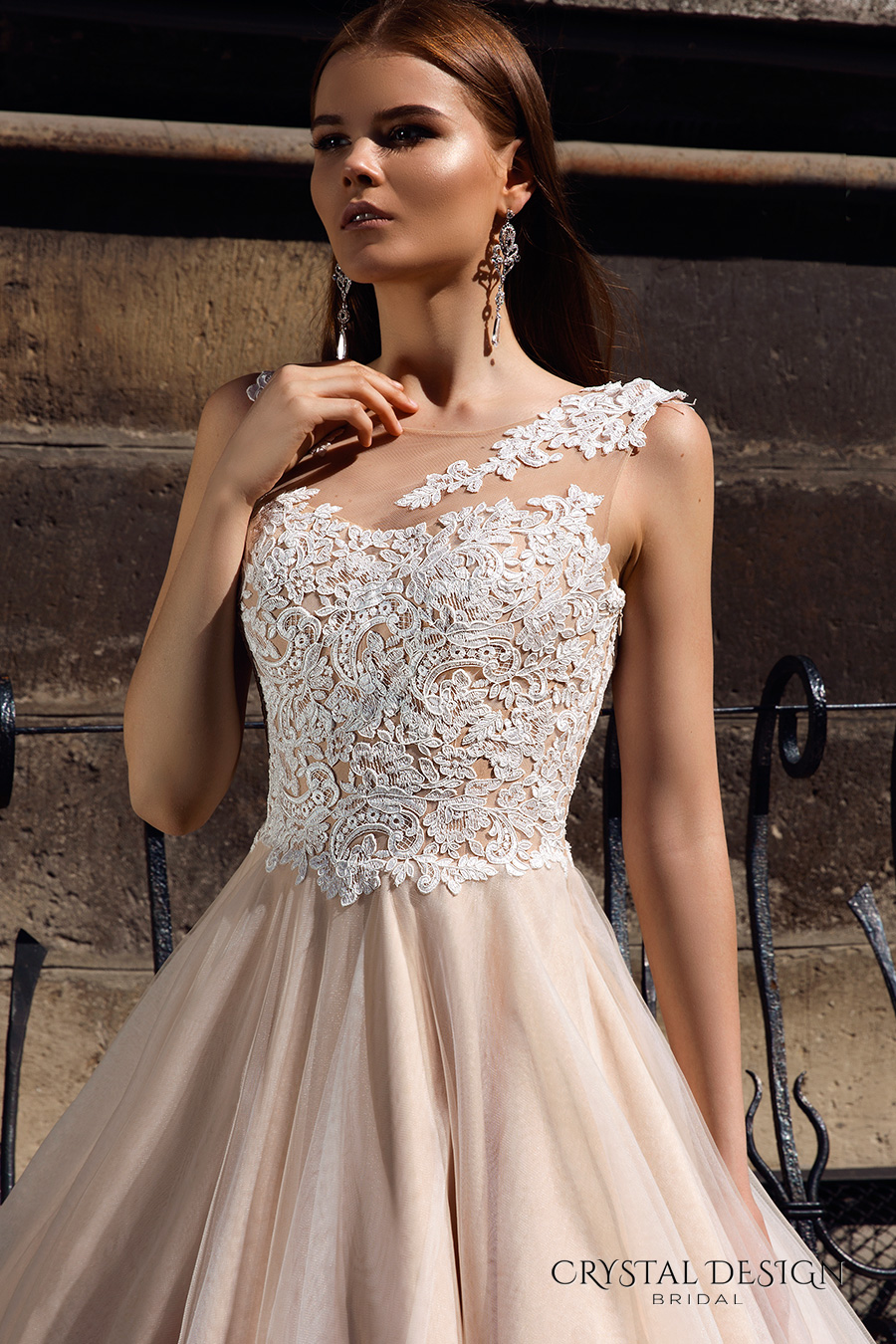 crystal design bridal 2016 sleeveless embellished semi sweetheart neckline lace bodice champagne color princess a  line ball gown wedding dress illusion back royal train (ariel) zv
