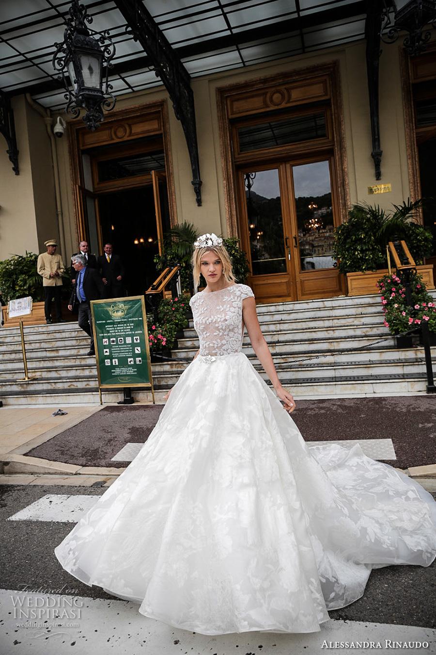 alessandra rinaudo 2017 bridal cap sleeves bateau neckline floral heavily embellished bodice romantic princess a  line wedding dress with pockets lace back royal long train (4) mv