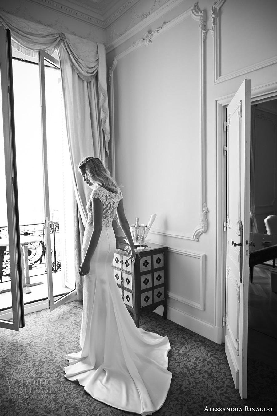 alessandra rinaudo 2017 bridal cap sleeves boat neckline lace bodice heavily embellished bodice satin skirt elegant sheath wedding dress lace back chapel train (18) bv