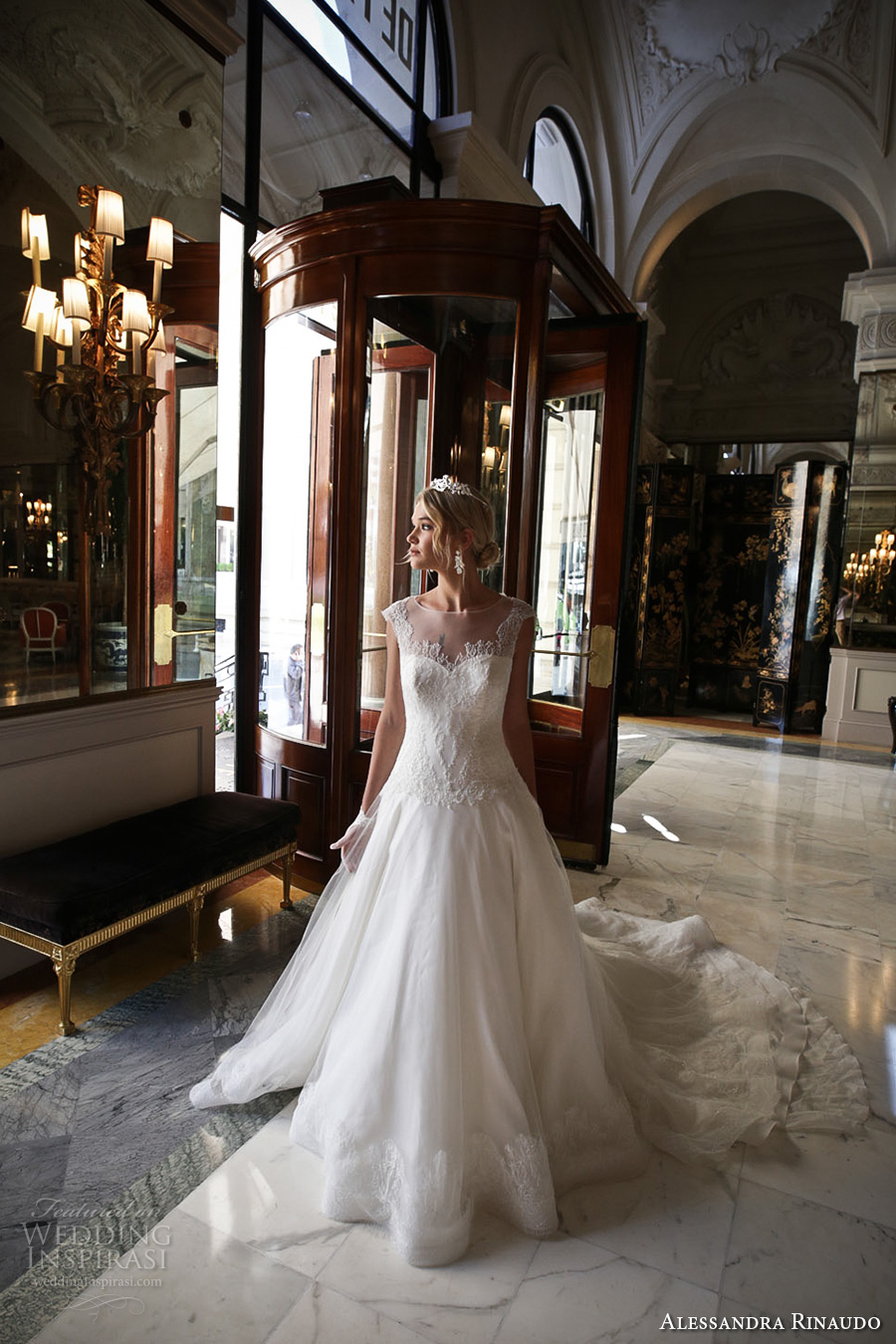alessandra rinaudo 2017 bridal cap sleeves illusion round neck sweetheart neckline drop waist heavily embellished bodice a  line wedding dress lace back long train (25) mv