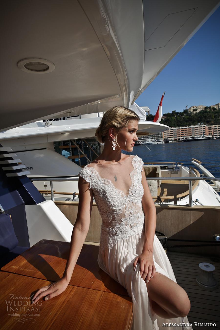 alessandra rinaudo 2017 bridal cap sleeves thick strap v neck heavily embellished bodice romantic a  line wedding dress illusion back chapel train (20) zv