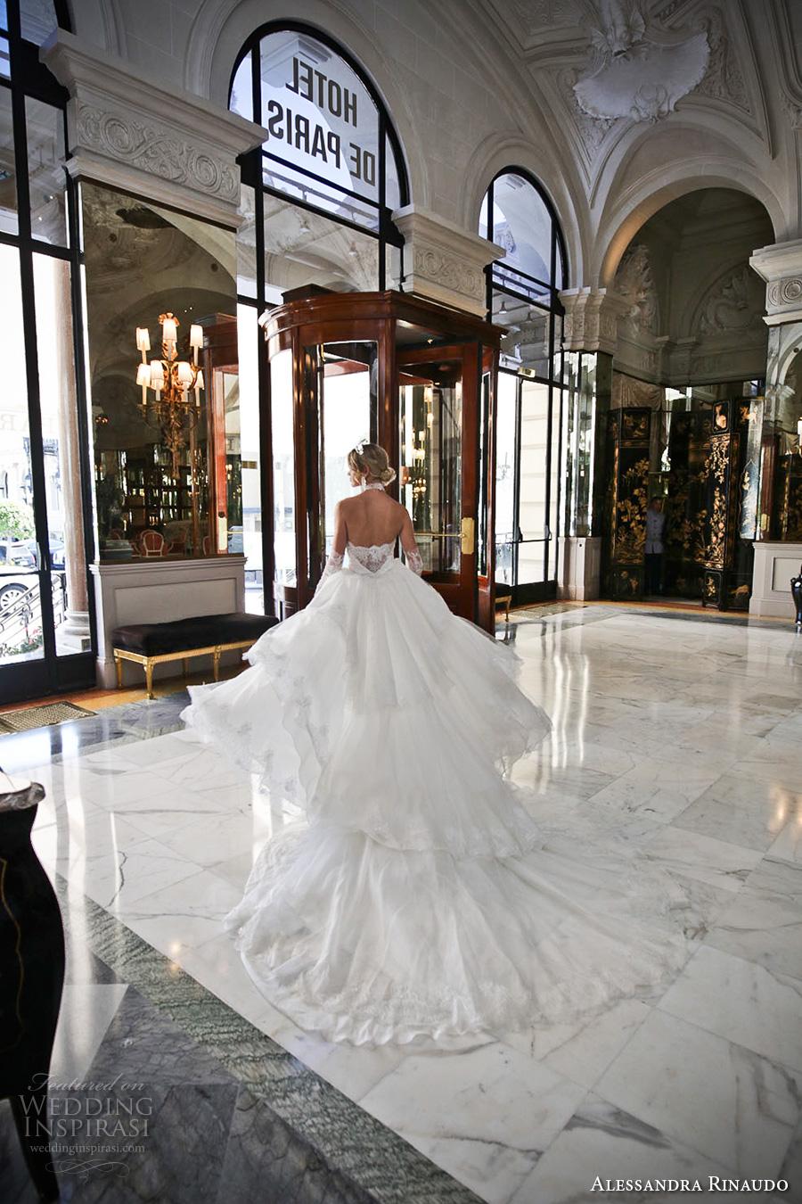 alessandra rinaudo 2017 bridal long fingerless lace gloves strapless deep sweetheart v neck heavily embellished bodice sheath wedding dress layered long train (28) bv