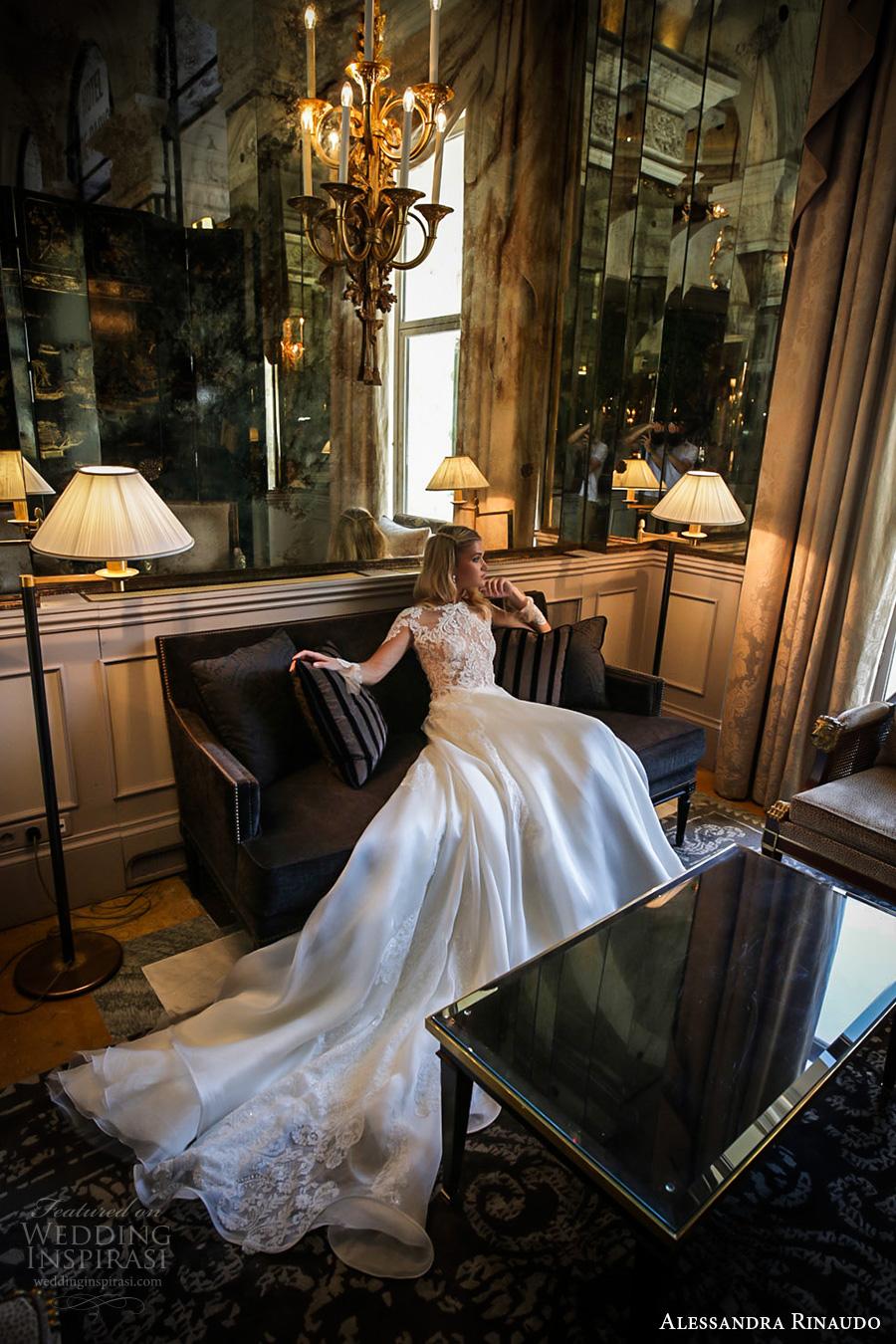alessandra rinaudo 2017 bridal long sleeves round neck lace heavily embellished bodice drop waist elegant a  line wedding dress lace back long train (29) mv