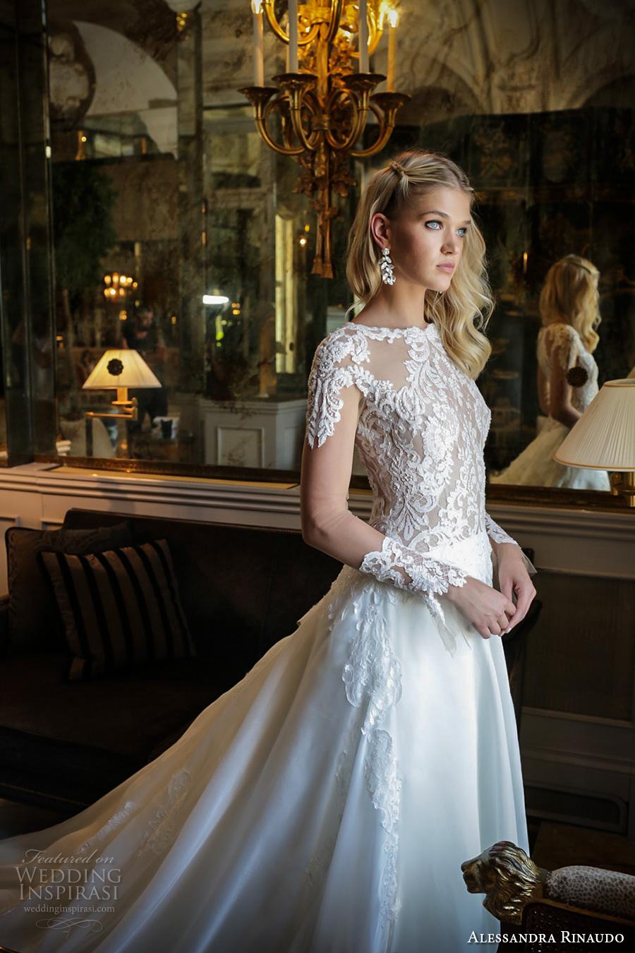 alessandra rinaudo 2017 bridal long sleeves round neck lace heavily embellished bodice drop waist elegant a  line wedding dress lace back long train (29) zv