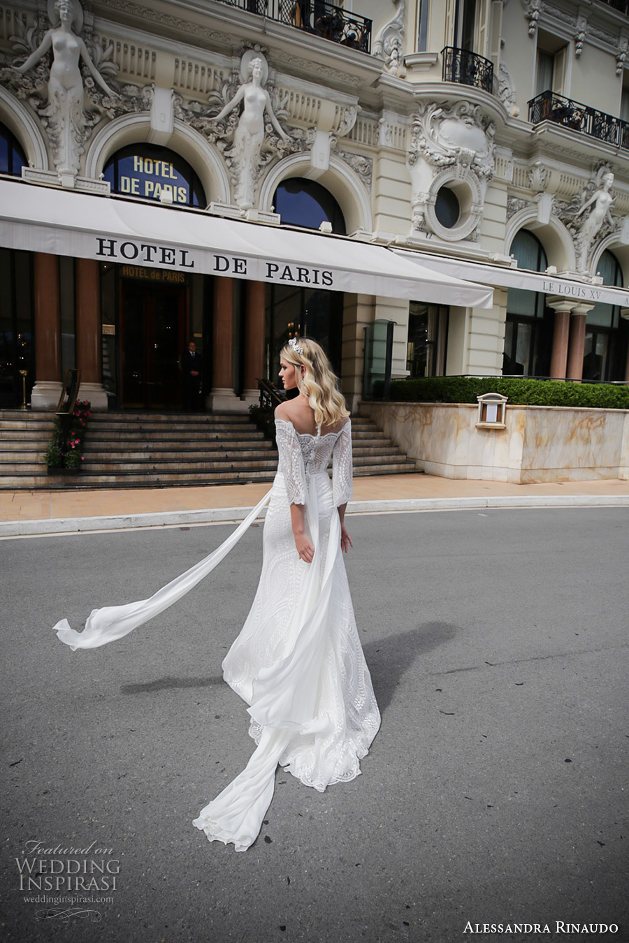 alessandra rinaudo 2017 bridal off the shoulder three quarter bell sleeves lace heavily embellished bodice sexy sheath wedding dress lace back sweep train (5) bv